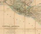 Map of Central America including the states of Guatemala, Salvador, Honduras, Nicaragua &...