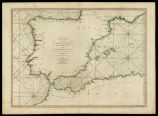 A chart of the coasts of Spain and Portugal with the Balearic Islands, and part of the coast of...