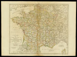 A new map of France divided into Eighty three departments according to the degree of the Nationa...