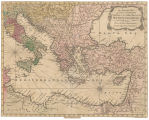 An accurate map of all the countries bordering on the Eastern parts of the Mediterranean sea, from...